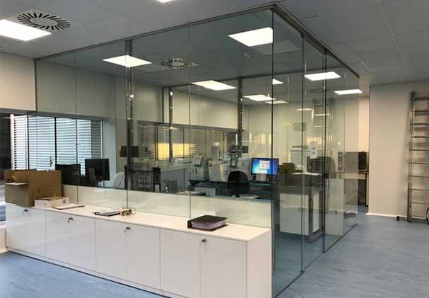 schuifdeur kantoor glas paneel automatisch